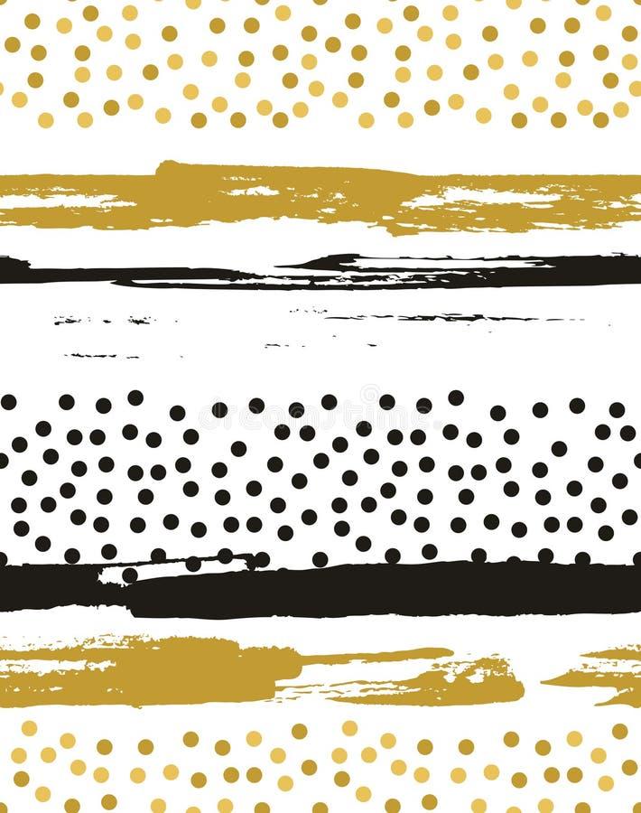 Modèle sans couture de vecteur avec des cercles de feuille d'or illustration stock
