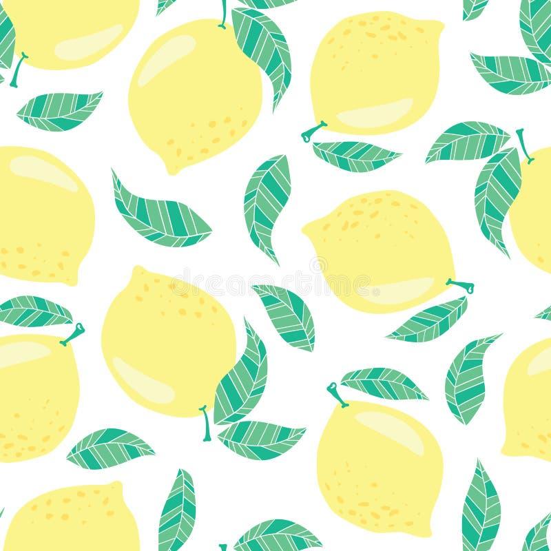 Modèle sans couture de vecteur avec des citrons illustration libre de droits