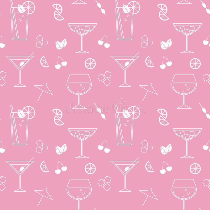 Modèle sans couture de vecteur avec des cocktails illustration libre de droits