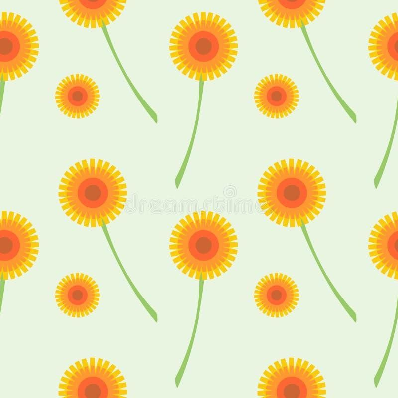 Modèle sans couture de vecteur avec des fleurs Fond avec les pissenlits oranges sur le contexte gris illustration stock