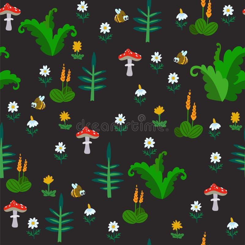 Modèle sans couture de vecteur avec des fleurs, des herbes et des champignons d'été d'isolement sur le fond foncé Texture tirée p illustration de vecteur
