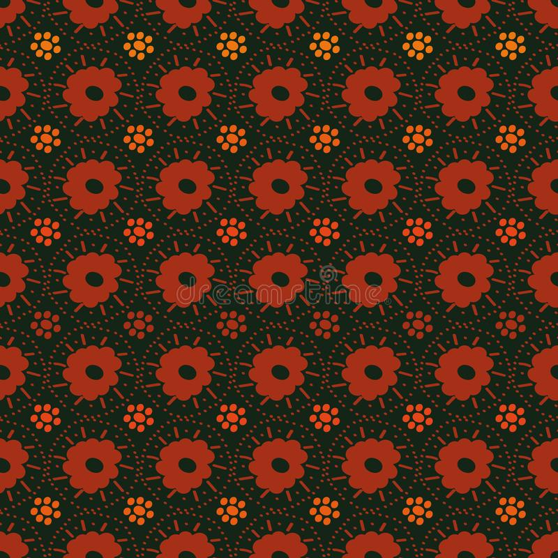 Modèle sans couture de vecteur avec des formes simples de fleur en rouge et orange illustration libre de droits