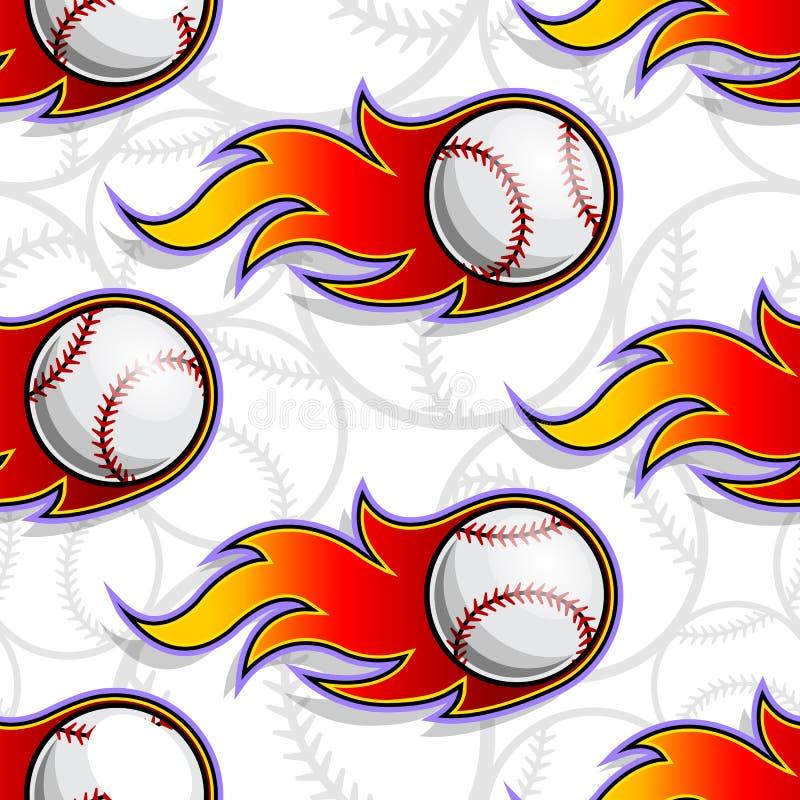 Modèle sans couture de vecteur avec des icônes et des flammes de boule de base-ball illustration libre de droits