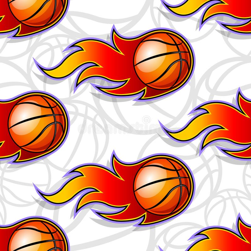 Modèle sans couture de vecteur avec des icônes et des flammes de boule de basket-ball illustration de vecteur