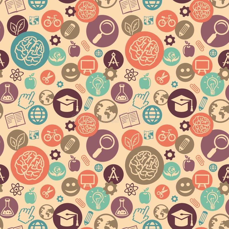 Modèle sans couture de vecteur avec des icônes d'éducation illustration stock