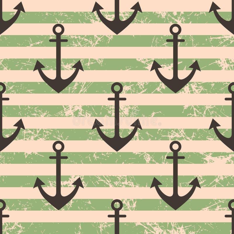 Modèle sans couture de vecteur avec des icônes d'ancre Le vert géométrique créatif a rayé le fond grunge, thème nautique illustration libre de droits