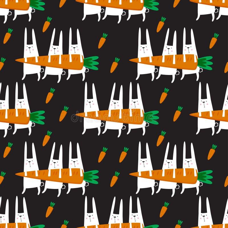 Modèle sans couture de vecteur avec des lapins illustration stock