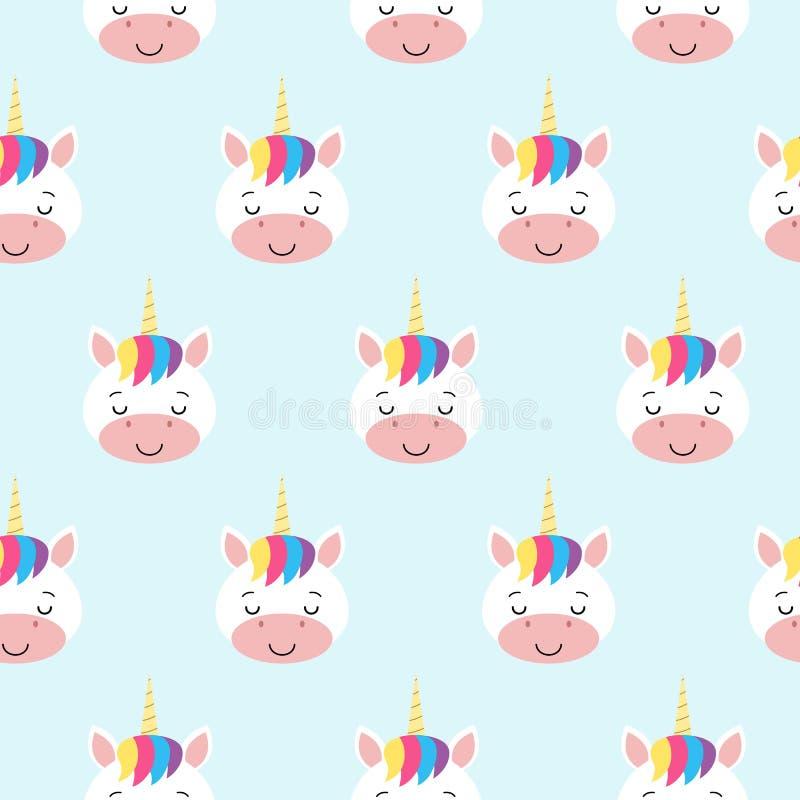 Modèle sans couture de vecteur avec des licornes d'arc-en-ciel Fond pour une carte d'invitation ou une félicitation Kawaii illustration de vecteur
