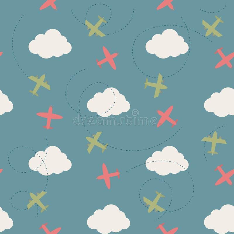 Modèle sans couture de vecteur avec des nuages et des avions illustration libre de droits