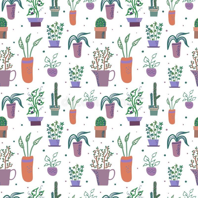 Modèle sans couture de vecteur avec des plantes d'intérieur dans des pots de fleur illustration de vecteur