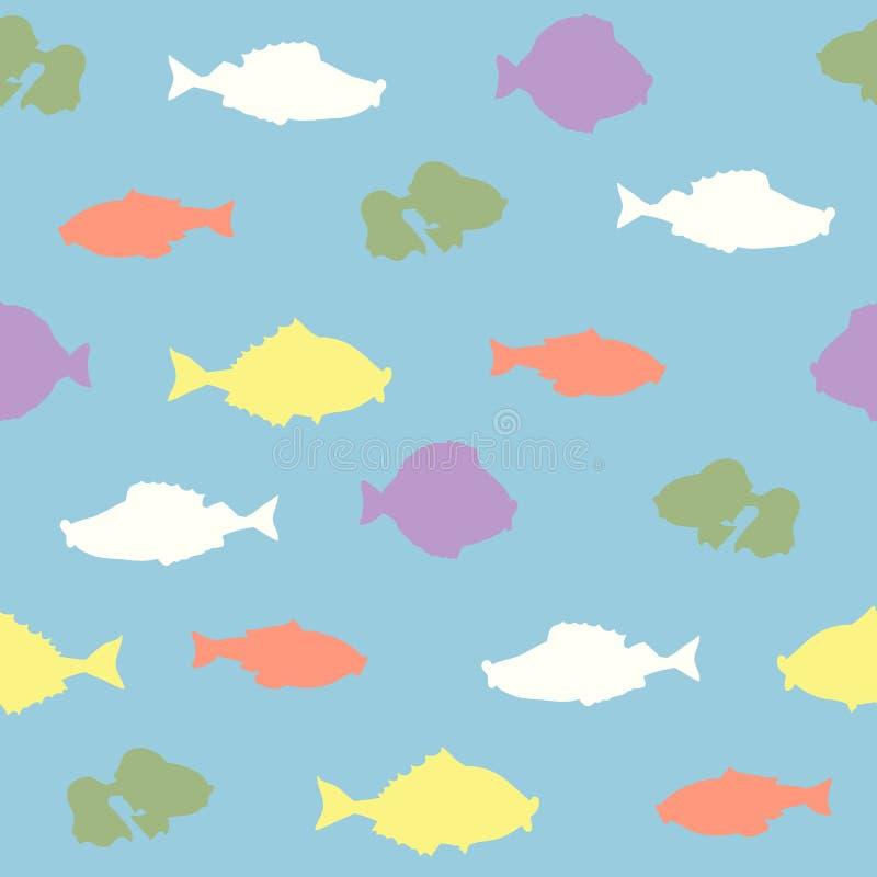 Modèle sans couture de vecteur avec des poissons illustration stock