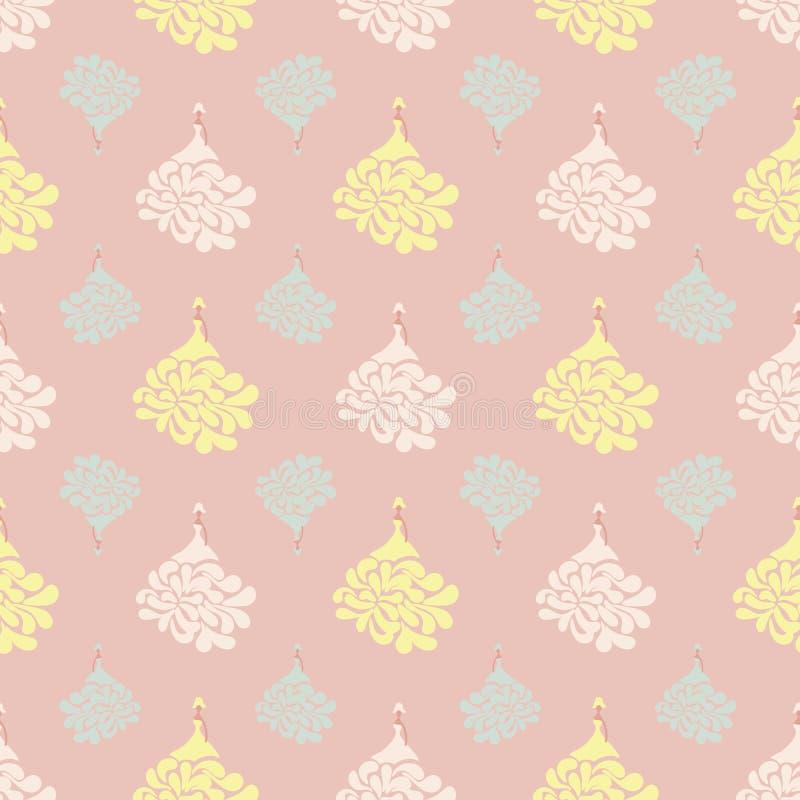 Modèle sans couture de vecteur avec des poupées dans des robes de princesse sur le fond rose de poudre illustration stock