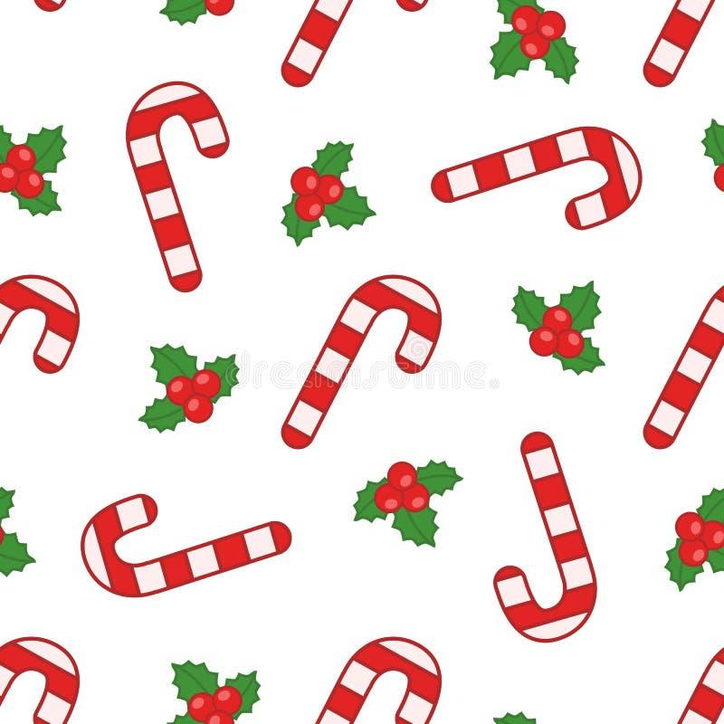 Modèle sans couture de vecteur avec des sucreries et des baies de Noël sur le fond blanc illustration stock