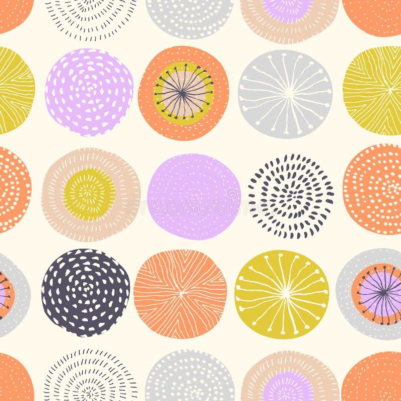 Modèle sans couture de vecteur avec des textures de cercle d'encre illustration libre de droits