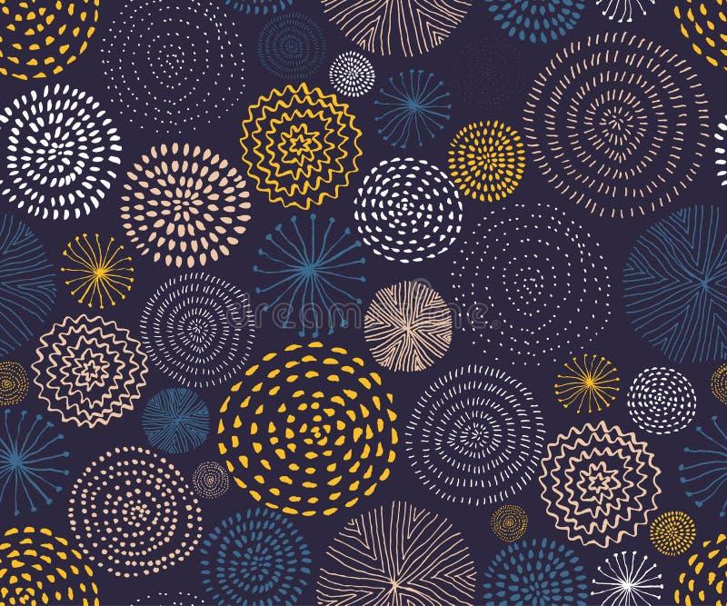 Modèle sans couture de vecteur avec des textures de cercle d'encre Fond sans couture abstrait avec les feux d'artifice colorés illustration de vecteur