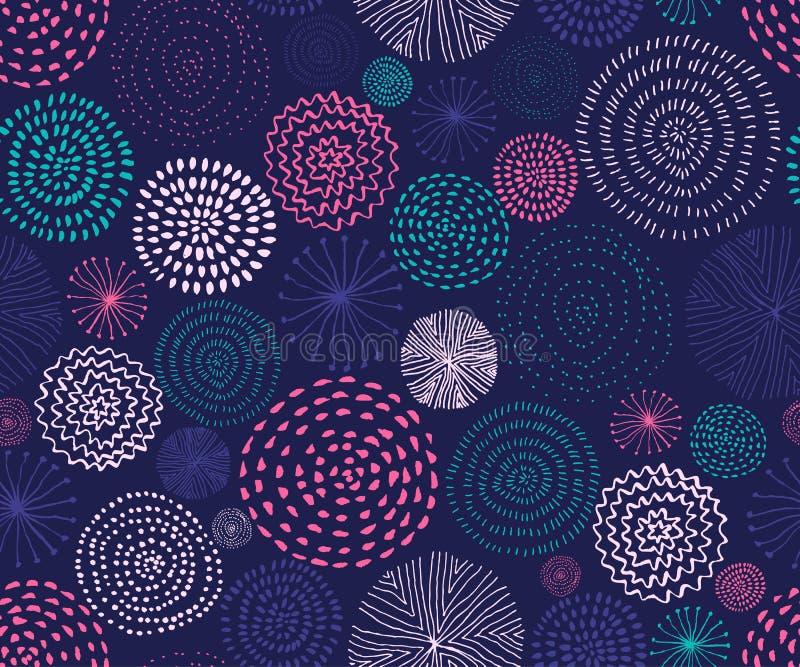 Modèle sans couture de vecteur avec des textures de cercle d'encre Fond sans couture abstrait avec les feux d'artifice colorés illustration libre de droits