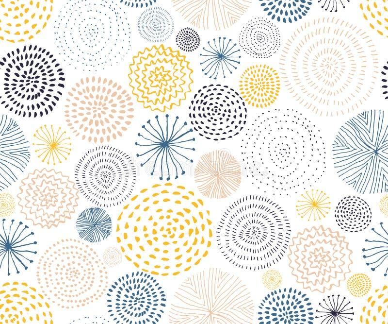 Modèle sans couture de vecteur avec des textures de cercle d'encre Fond sans joint abstrait illustration stock