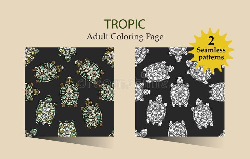 Modèle sans couture de vecteur avec des tortues illustration de vecteur