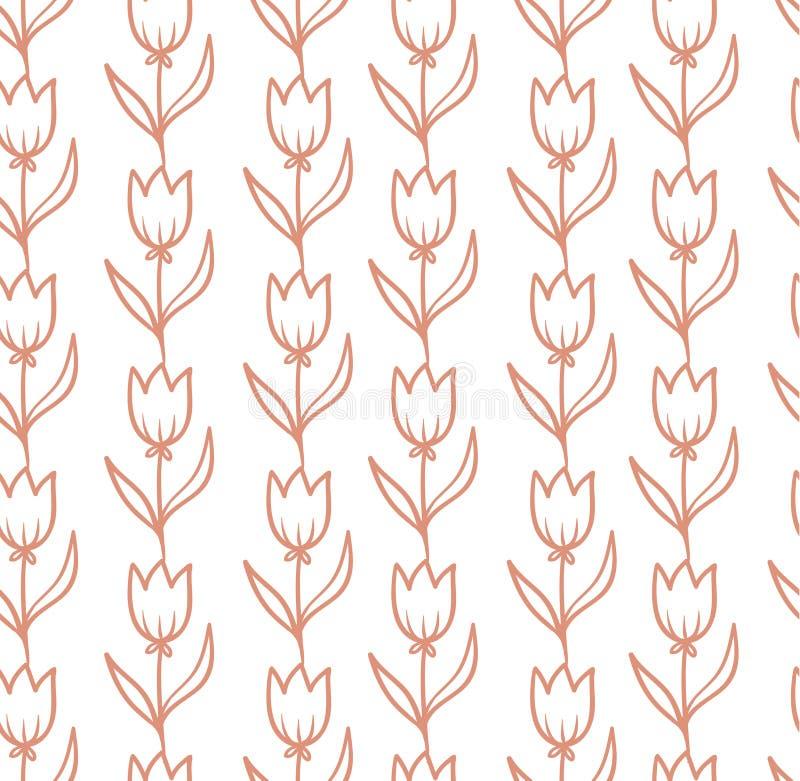 Modèle sans couture de vecteur avec des tulipes illustration de vecteur