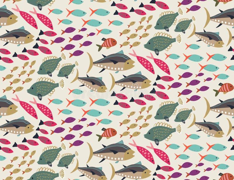 Mod?le sans couture de vecteur avec diff?rents poissons exotiques color?s illustration stock
