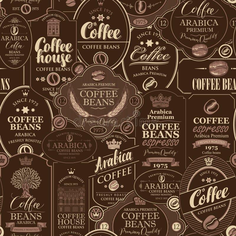 Modèle sans couture de vecteur avec de divers labels de café illustration stock