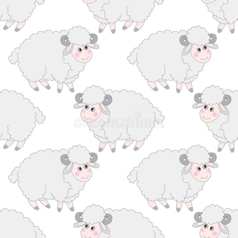 Modèle sans couture de vecteur avec l'agneau mignon de vecteur de moutons Illustration sans couture de vecteur de modèle de mouto illustration libre de droits