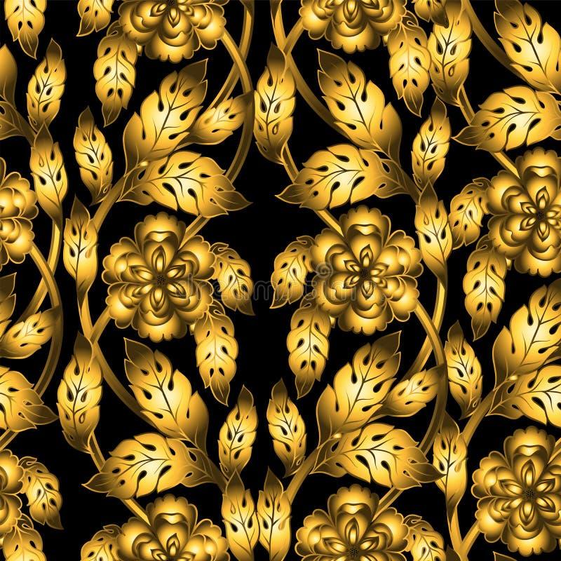Modèle sans couture de vecteur avec l'ornement floral illustration de vecteur