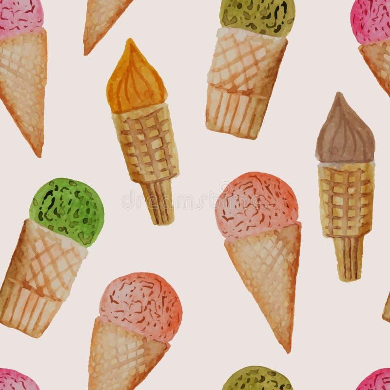Modèle sans couture de vecteur avec la crème glacée tirée par la main d'aquarelle illustration stock