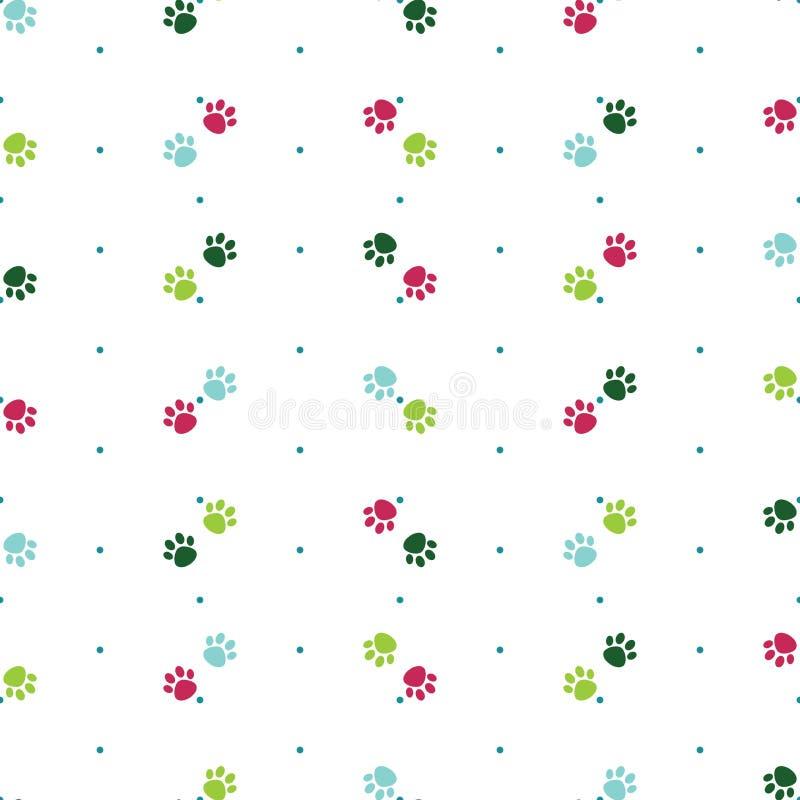 Modèle sans couture de vecteur avec la patte colorée de chien de patte de chat Pattes de rose, bleues et vertes Fond de point de  illustration stock