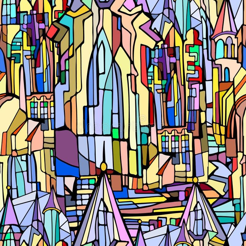 Modèle sans couture de vecteur avec la ville gothique fictive illustration libre de droits