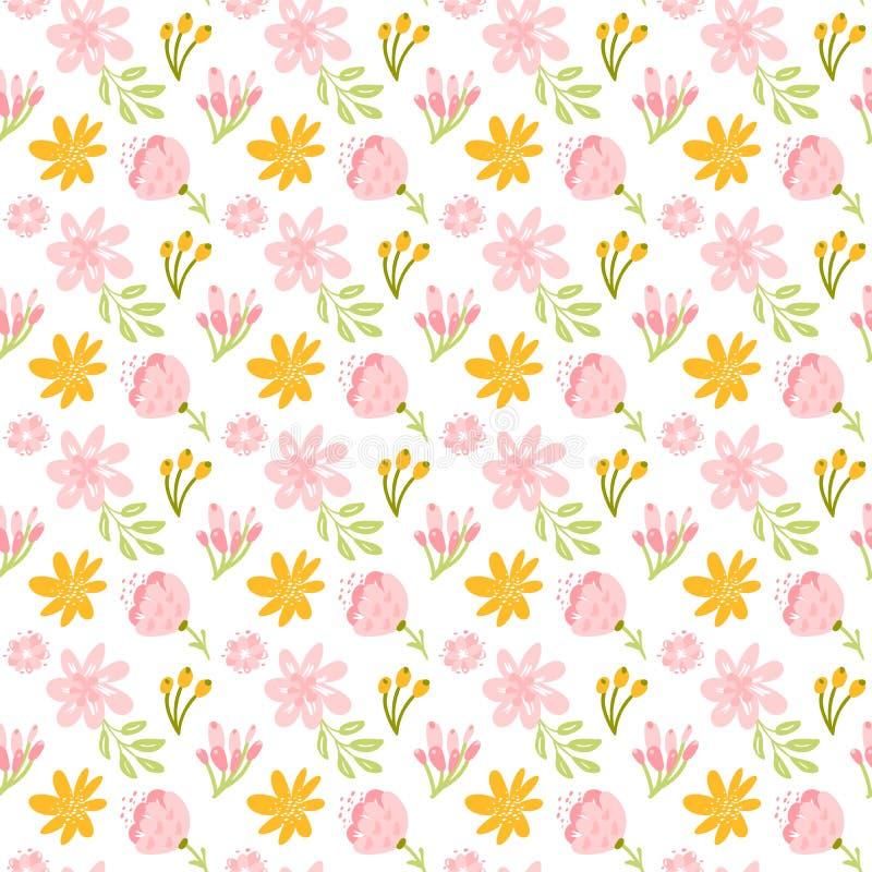 Modèle sans couture de vecteur avec le bouquet et les feuilles plats de fleur Fond floral mignon pour votre conception Couleurs e illustration de vecteur