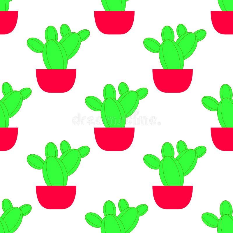 Modèle sans couture de vecteur avec le cactus Texture répétée lumineuse avec le cactus vert dans le pot de fleur illustration stock