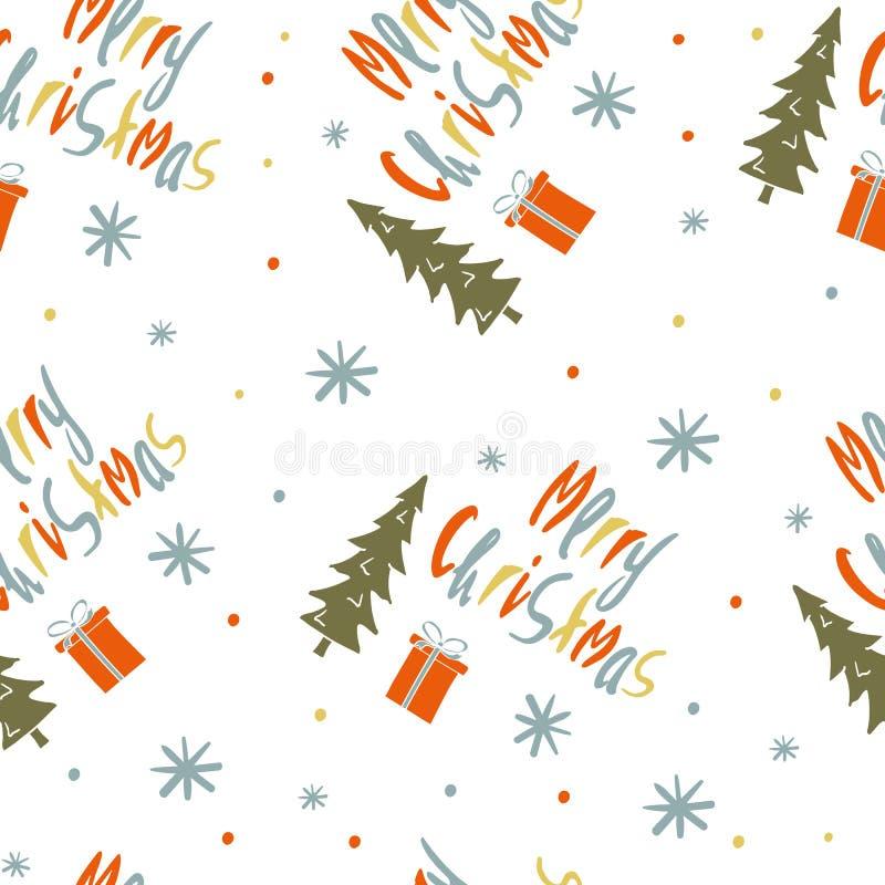 Modèle sans couture de vecteur avec le Joyeux Noël de mots illustration libre de droits