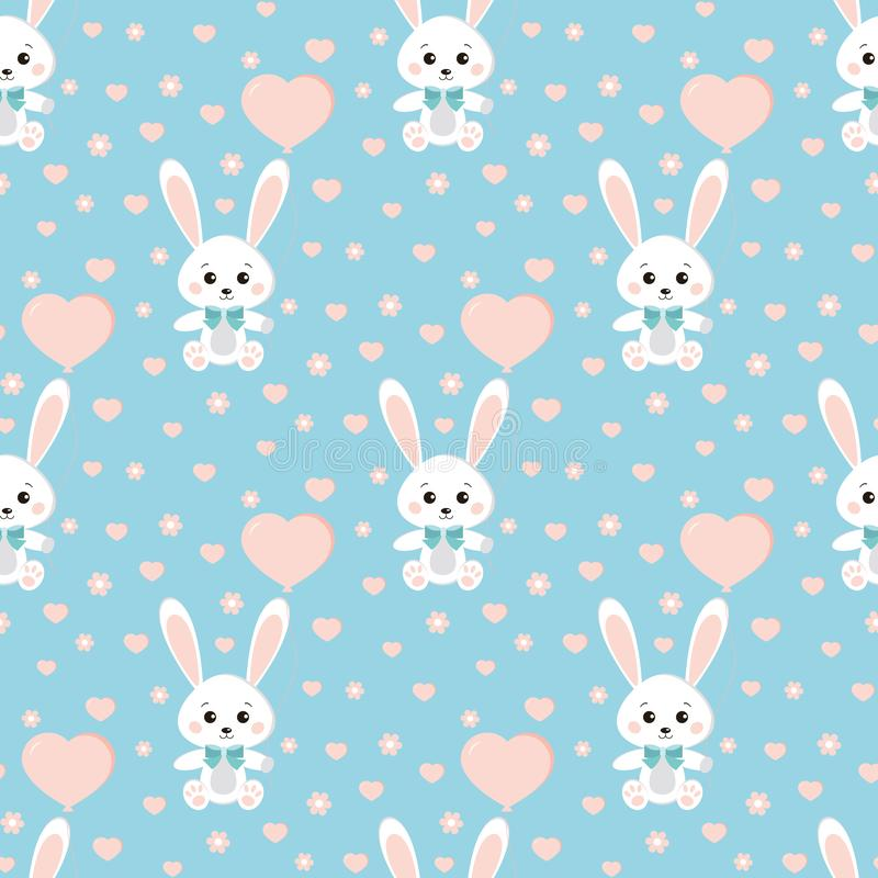 Modèle sans couture de vecteur avec le lapin ou les lièvres mignons avec le noeud papillon, ballon, coeurs, fleurs sur le fond bl illustration libre de droits