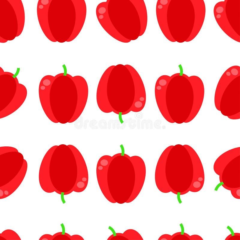 Modèle sans couture de vecteur avec le paprika rouge Illustration rouge sans couture de vecteur de fond de paprika illustration libre de droits