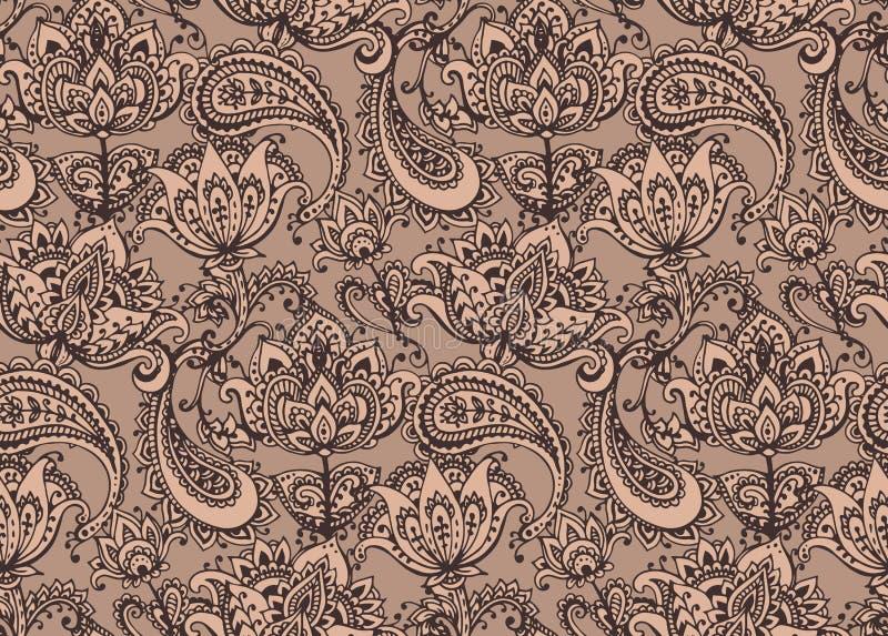 Modèle sans couture de vecteur avec les éléments tirés par la main de conception de henné illustration stock