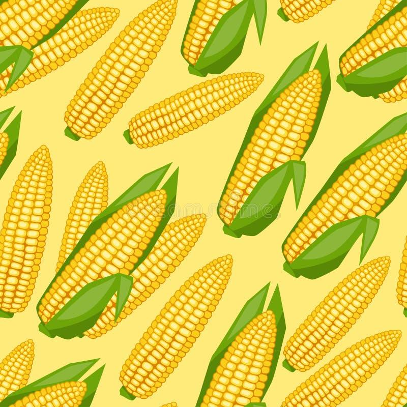 Modèle sans couture de vecteur avec les épis de maïs mûrs frais illustration libre de droits