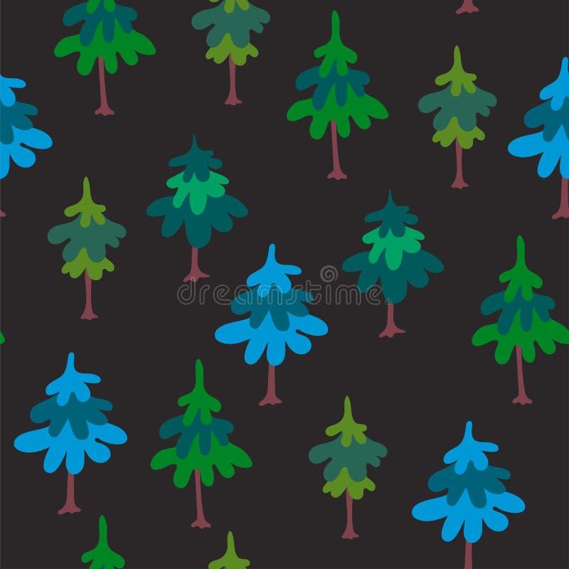 Modèle sans couture de vecteur avec les arbres verts d'isolement sur le fond foncé Illustration naturelle tirée par la main avec  illustration libre de droits