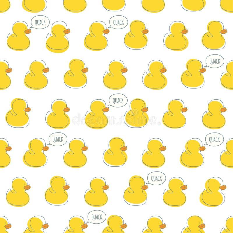 Modèle sans couture de vecteur avec les canards jaunes de bébé illustration stock