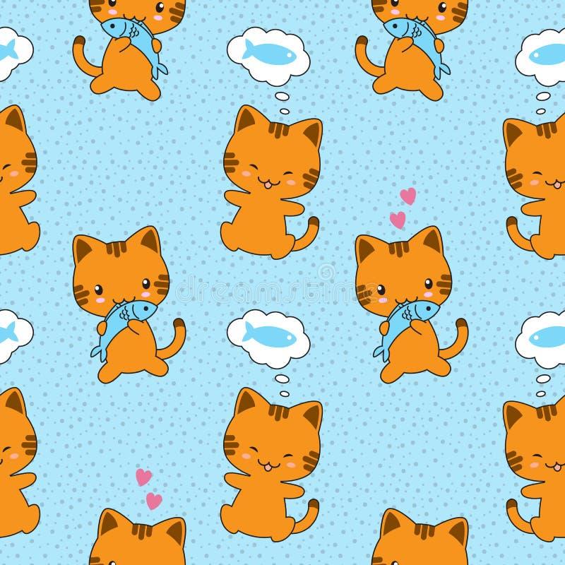 Modèle sans couture de vecteur avec les chats mignons illustration stock