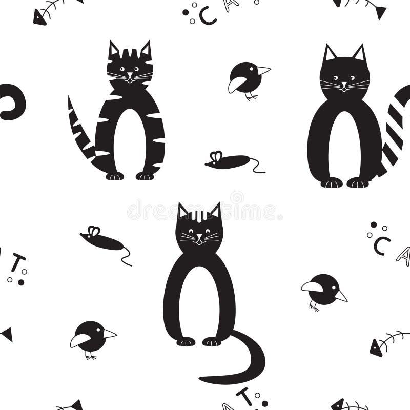 Modèle sans couture de vecteur avec les chats noirs drôles illustration stock