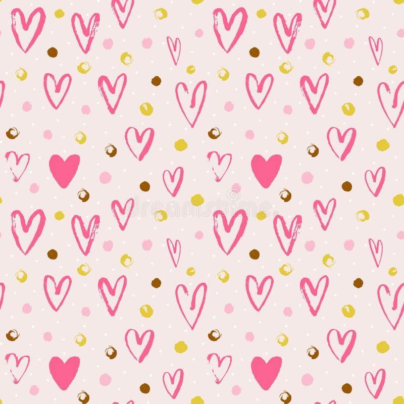 Modèle sans couture de vecteur avec les coeurs grunges et les points Fond d'amour pour le jour du `s de valentine illustration stock