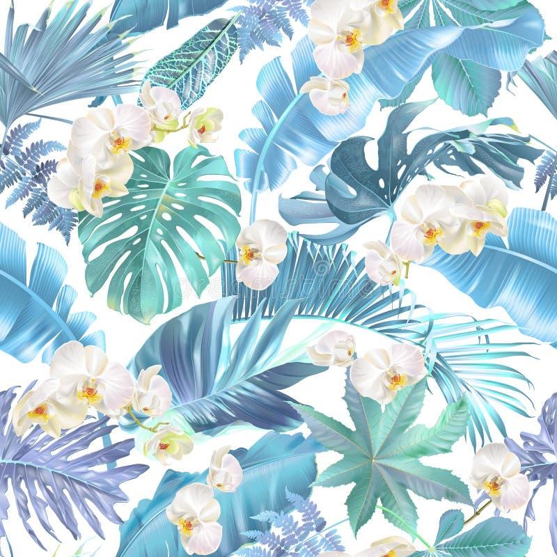 Modèle sans couture de vecteur avec les feuilles tropicales bleues illustration de vecteur