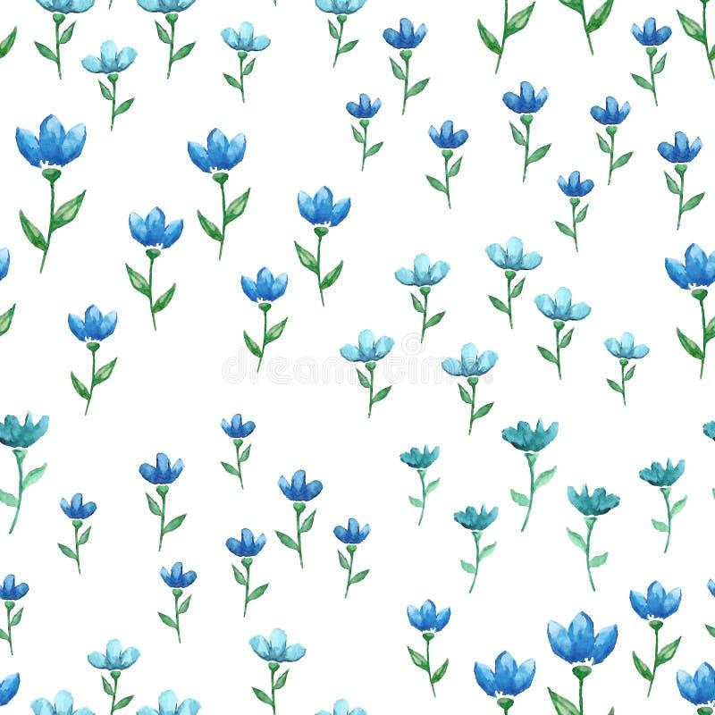 Modèle sans couture de vecteur avec les fleurs bleues d'aquarelle illustration libre de droits