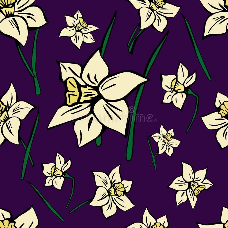 Modèle sans couture de vecteur avec les fleurs jaunes de ressort illustration libre de droits