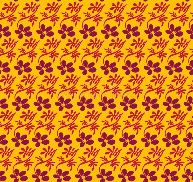 Modèle sans couture de vecteur avec les fleurs pourpres et les feuilles roses sur contraster le fond jaune vif illustration de vecteur