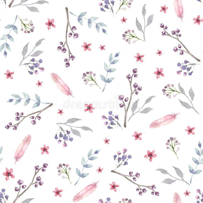 Modèle sans couture de vecteur avec les fleurs roses d'aquarelle illustration stock
