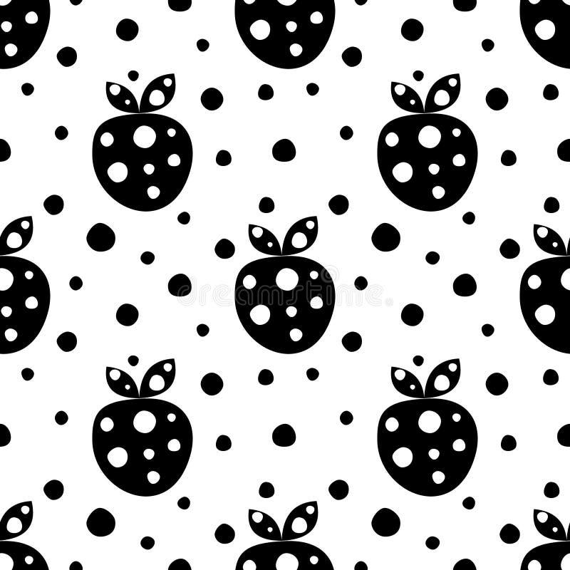 Modèle sans couture de vecteur avec les fraises et les points mignons ornementaux décoratifs noirs sur le fond blanc Répétition d illustration libre de droits