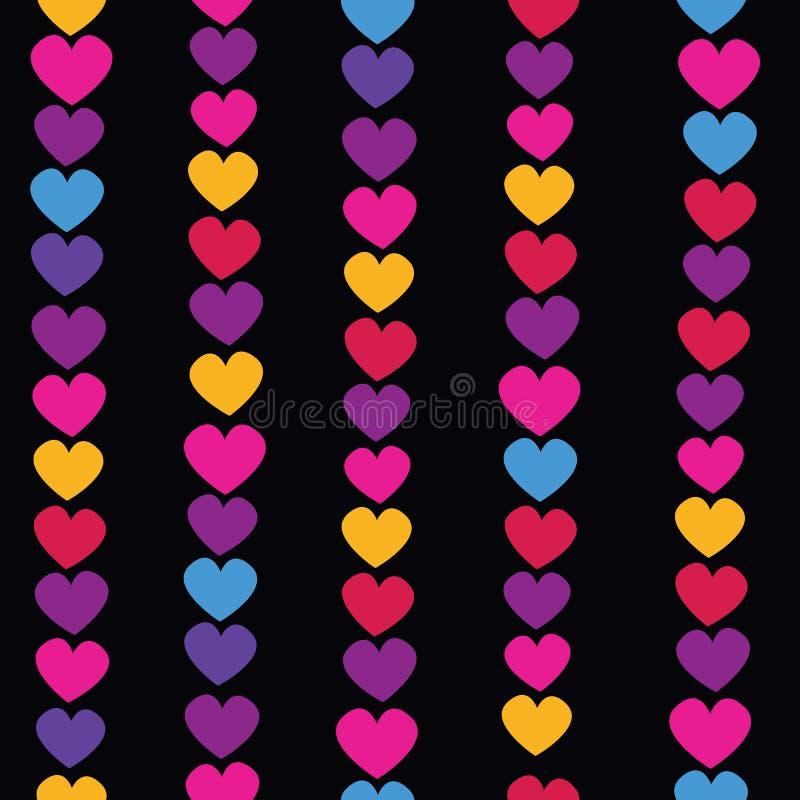 Modèle sans couture de vecteur avec les guirlandes accrochantes de coeur dans de rétros couleurs Fond de papier d'emballage illustration de vecteur