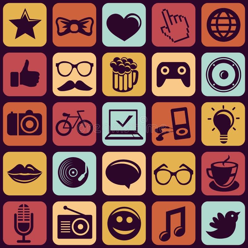Modèle sans couture de vecteur avec les icônes à la mode de hippie illustration de vecteur